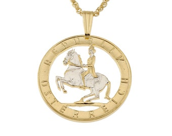 "Austrian Pendant and Necklace, Lipizzaner Horse coin Hand Cut, Plated in 14 Karat Gold and Rhodium, . 75 "" in Diameter (#12)"