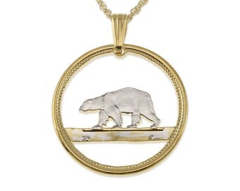 "Polar Bear Pendant and Necklace, Greenland Polar Bear Coin Hand Cut, 14 Karat Gold and Rhodium Plated, 7/8 "" in Diameter, ( # 150 )"