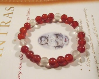 Carnelian - Frosted  Quartz - Therapeutic Quality Gemstone Energy Bracelet for Healing 8mm