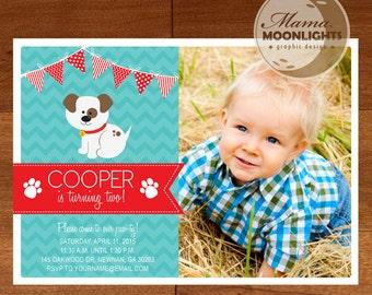 Puppy Birthday Party Printable Photo Invitation - DIY - Best Boy Birthday Invitation Dog Red Blue