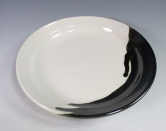Handmade, stoneware dinner plate. Black and white
