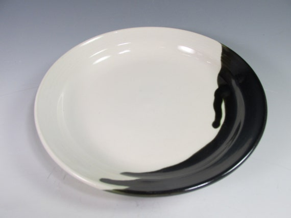 handmade stoneware dinner plate black and white