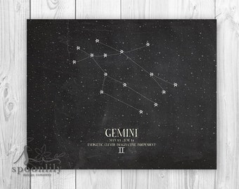 GEMINI, Zodiac Constellation Print, Chalkboard Art, Astrology Print, Wall Art Poster Print - Home Decor