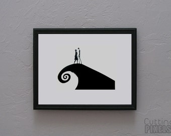 The Nightmare Before Christmas Jack and Sally  Hand cut paper art black silhouette paper cutting