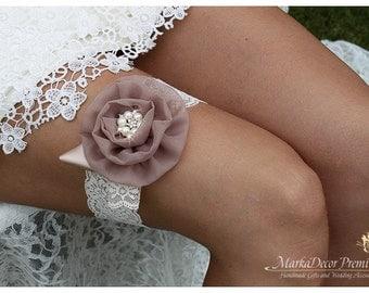 Bridal Garter, Champagne Ivory Garter, Wedding Lace Garter, Flower Garter, Bridesmaids Garter, Brooch Garter, Jeweled Garter, Custom Garter