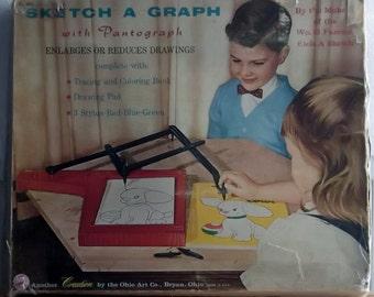1950s Sketch A Graph w/ Pantograph Etch A Sketch Maker Ohio Art