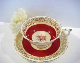 Paragon tea cup, fine bone china, shabby chic decor, cup and saucer, red teacup, gift for her, footed tea cup