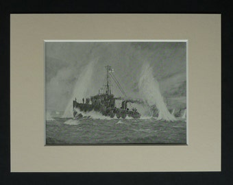 Antique WWI British Navy Print, Naval Battle Picture, HMS Wear, Military Wall Art, Old Warship Decor, Available Framed, Destroyer Battleship
