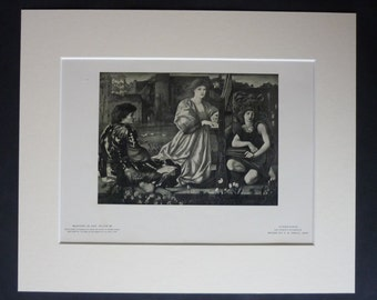 1901 Antique Edward Burne-Jones Print, Pre-Raphaelite Gift, Love Song Decor, Available Framed, Romantic Art, Le Chant D'Amour Wall Art