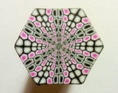 Polymer Clay Cane - LARGE Pink, Black, and White Hexagon Polymer Clay Cane