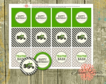 """Vintage Tractor Bash 2"""" Party Circles - Green John Deere - INSTANT Download"""