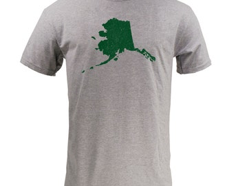 Distressed Alaska State Shape - Sport Grey