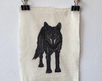 Wolf Linocut Patch