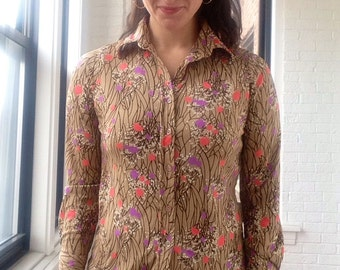 1970s Graphic Floral Print Button Down