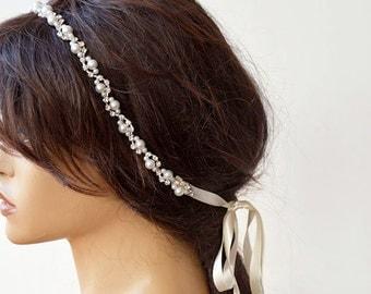 Bridal  Rhinestone and Pearl  headband,  Wedding Headband,  Bridal Hair Accessory, Wedding  Accessory