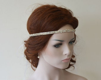 Bridal Rhinestone Ribbon Headband, Wedding Head Piece, Weddings Hair, Bridal Hair Accessories