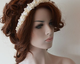 Wedding Headband, Bridal Pearl Crown, Wedding Hair Accessory, Bridal Hair Accessories, Vintage İnspired, Headbands for Women