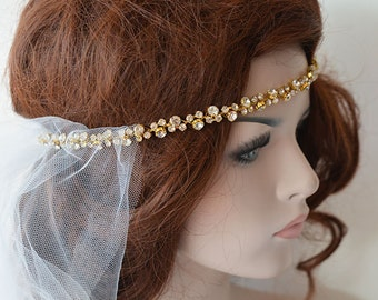 Gold Rhinestone Headband, Bridal Headband, Wedding Hair Accessories, Wedding  Headband, Bridal Hair Accessories