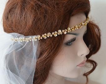 Gold Rhinestone Headband, Bridal Headband, Wedding Hair Accessories, Wedding  Headband, Bridal Hair Accessories