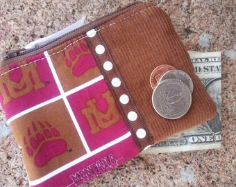 Coin Purse made from Montana Grizzlies Fabric