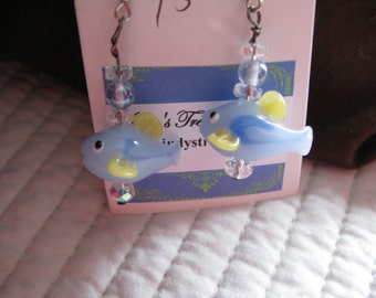 Lampwork Blue Fish Dangle Earrings Hypo Allergenic