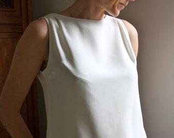 Cream Silk Crepe Shell Top with Kimono Silk
