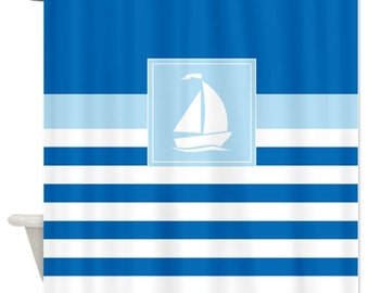 nautical shower stripes with bluelight bluewhite