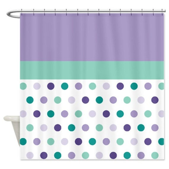 Polka Dot Shower Curtain Custom Hot Pink Aqua Yellow Purple Lime  Green Customize With ANY Colors Standard Or Extra Long Size Bathroom Decor