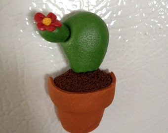 Potted Flowering Cactus Magnet