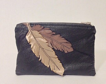 Leather feather pouch