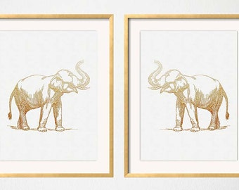 Gold Elephant Print, Faux Gold Foil Effect, White Gold Art Print, Golden Elephant, Chinoiserie Wall Art Print, Gold White Elephant Print