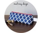 BOGO Sale Quatrefoil Cosmetic Pouch - Triangle Cosmetic Bag - Triangle Makeup Bag - Navy Quatrefoil - Standup Makeup Bag - Small Cos Bag