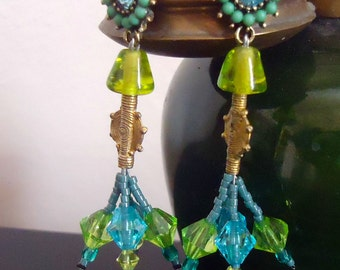 Turquoise earrings Queen Pokou earrings - unique Creation made in FRANCE