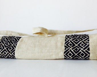 Yoga Bag -Ivory Burlap Black Hand Embroidered Yoga Mat Bag- Tote- Black Cream Yoga Bag- Yoga Backpack Accessories -Gift -Gift For Her -Mom