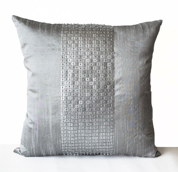 Grey Sequin Throw Pillow : Decorative Throw Pillows Grey color block in silk by AmoreBeaute