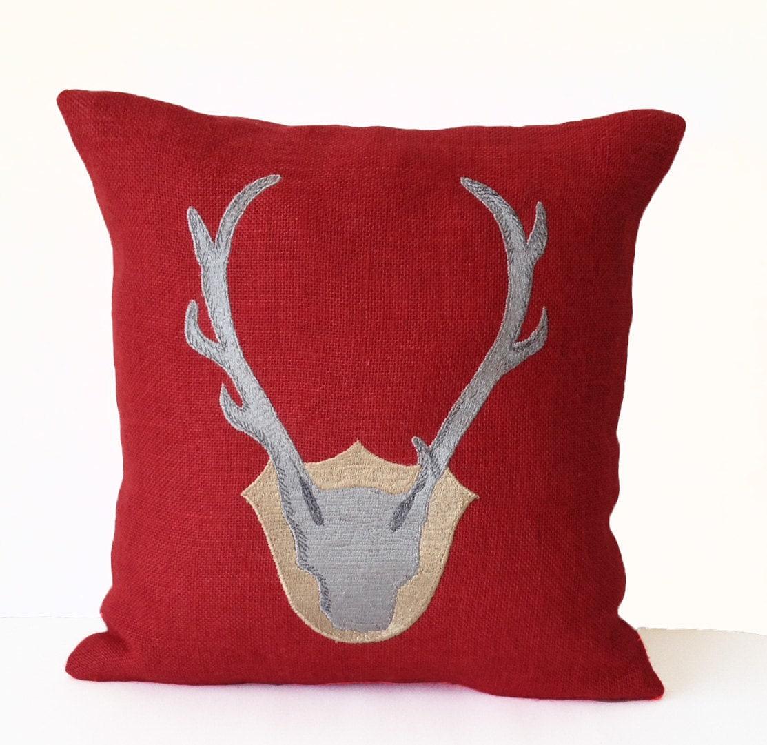 Deer Pillow Antler Pillow Throw Pillow Cover In Red Burlap