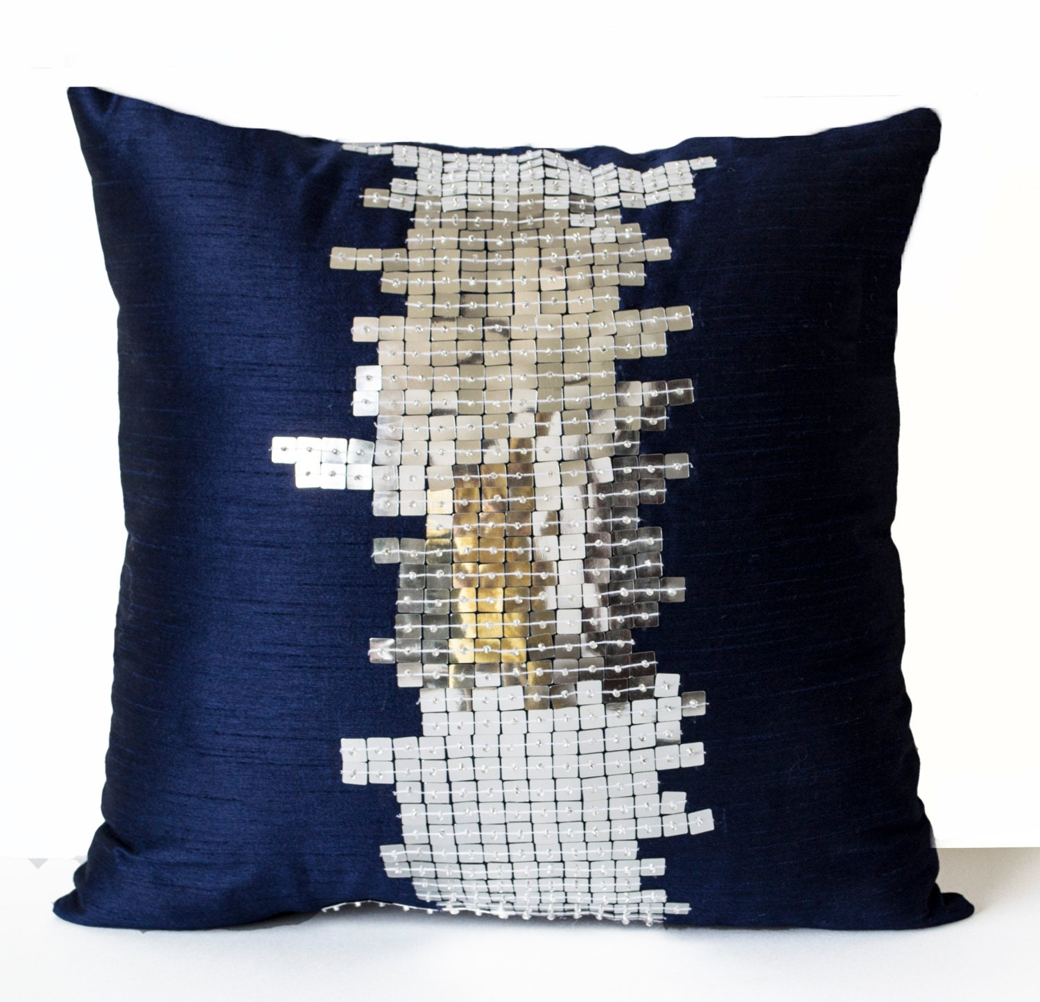 Navy Blue Silk Pillows Navy Silver Pillows Decorative Throw