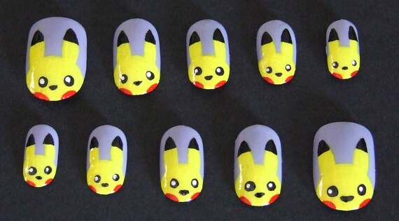Pikachu Acrylic Nails False Fake Acrylic Nail