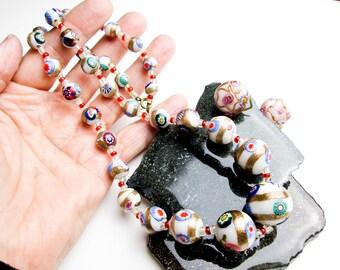 1930s Vintage Venetian Wedding Cake Bead Necklace & Earring Set, Murano Glass, Italy.