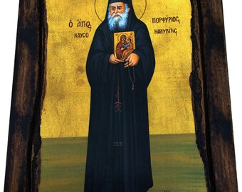 Saint St. Porfyrios - Orthodox Byzantine icon on wood handmade (22.5 cm x 17 cm)