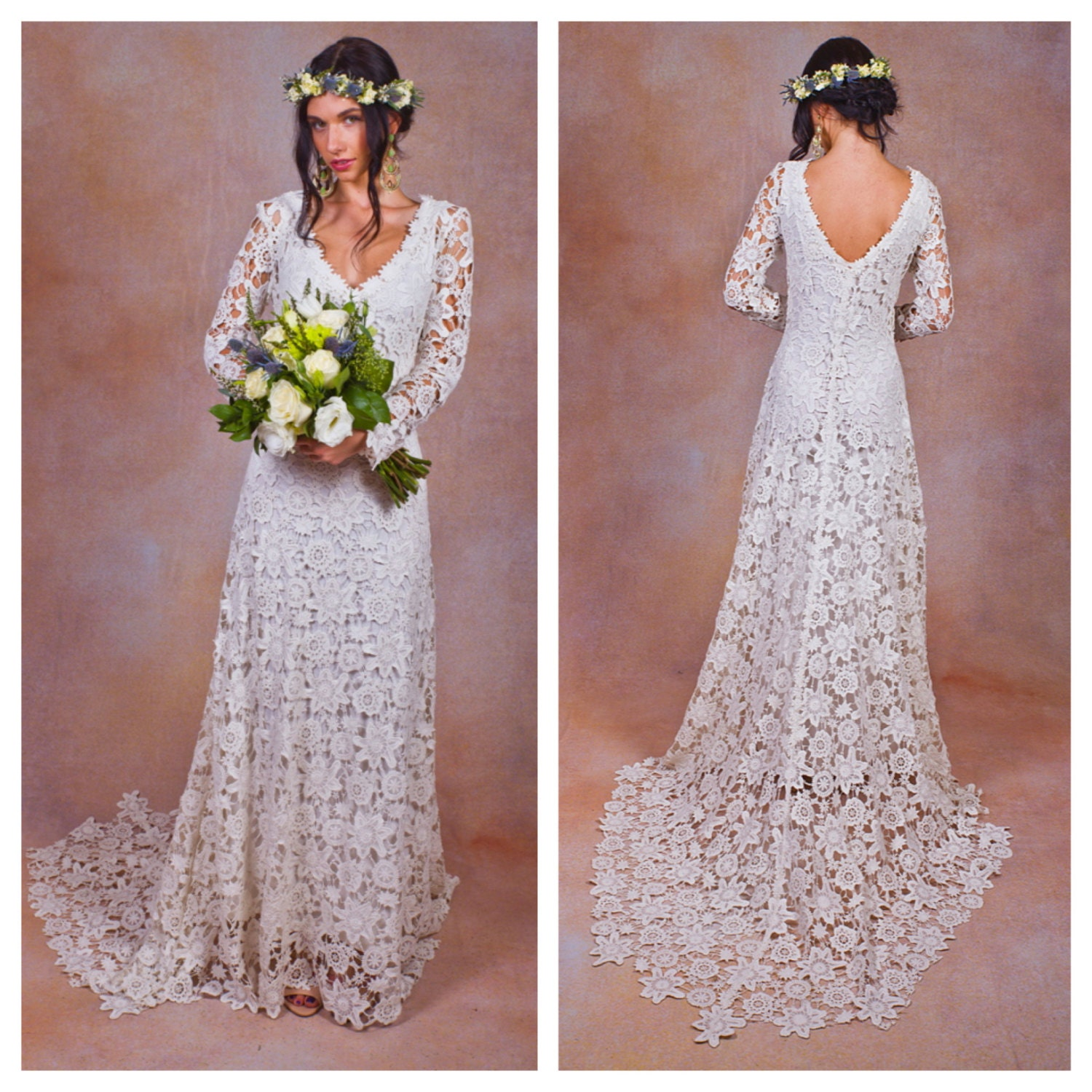 Hippie Boho Wedding Dress With Train Rustic BOHO WEDDING DRESS