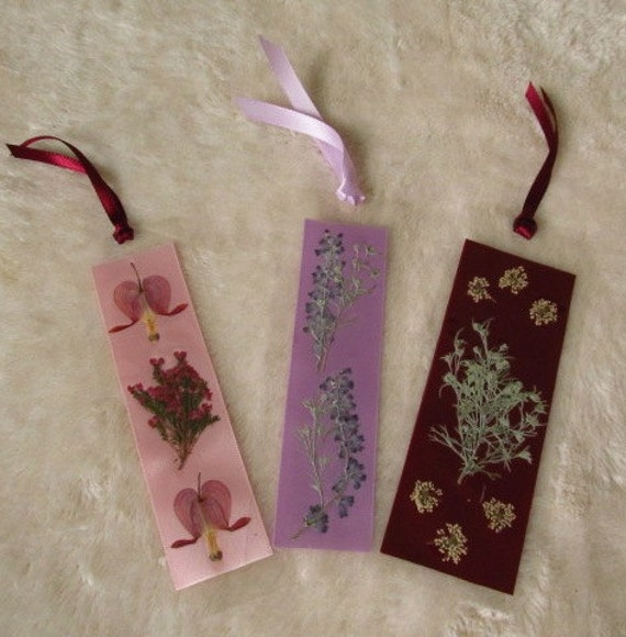 Laminated Pressed Flowers ~ Three victorian dried pressed flower laminated bookmarks