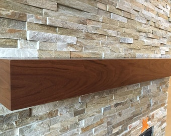 Walnut modern beam mantel, black walnut mantel.