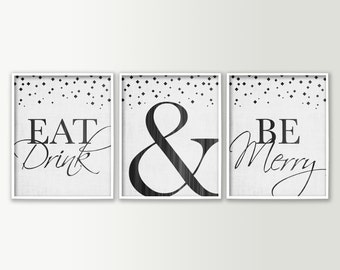 Eat Drink & Be Merry Dining Room Wall Decor - Modern Dining Room Art - Red Wall Art Prints - Kitchen Decor - Kitchen Signs - Red Aqua Black