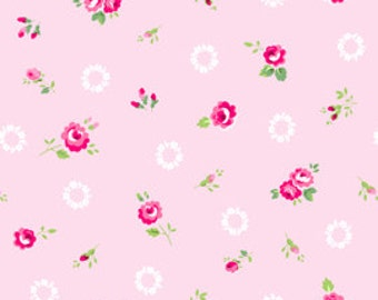 Half Yard of Pam Kitty Picnic's 'Wreaths and Roses'- Baby Pink, Pam Kitty Morning, Lakehouse Dry Goods