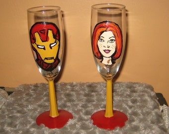 Iron Man and Pepper Potts Champagne Glasses / Toasting Glasses  /Harley Quinn/Joker /Geekery/Custom Made/ Personalize at no Extra Charge