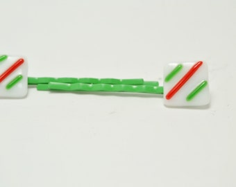 Green , red and white, pepperment  Fused Glass Bobby Pins.