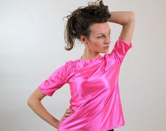 Neon pink Vintage top, women tshirt, size S, M, festival wear, 80s, disco (GP53)