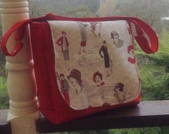 1920's ladies fashion themed red messenger bag, handmade ladies handbag, i-pad satchel bag, nappy bag, adjustable strap red and grey bag