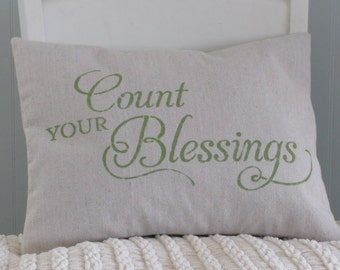 Stenciled PILLOW COVER Inspirational Pillow Cover Count Your Blessings Canvas [12x16]